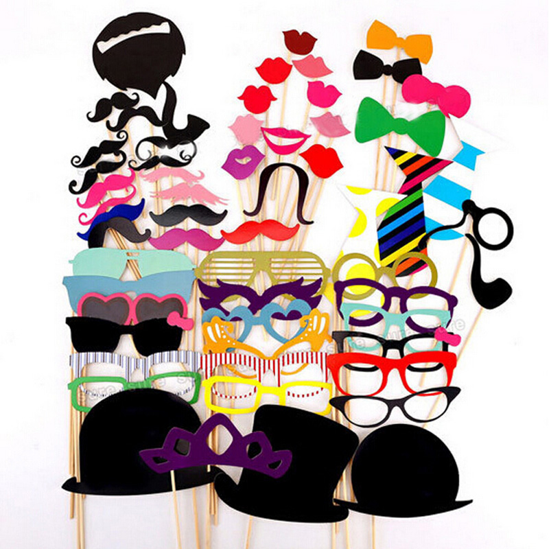 58pcs/lot of Photo Booth Props Glasses/Bow tie/Lips/Hat/Mustache On Sticks Wedding/Birthday/Halloween Event Party Supplies Favor