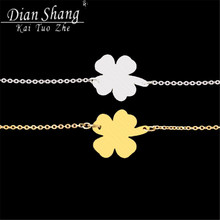 1-2014 Gold/Silver Minimalist Jewelry Christmas Gift Dainty Clover Statement Stainless Steel Everyday Bracelet