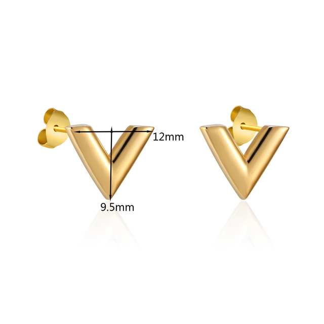 New Arrivals Exquisite Stereoscopic V Pattern Stud Earrings  For Women Man Top Quality Titanium Steel Earrings Piercing Jewelry 6