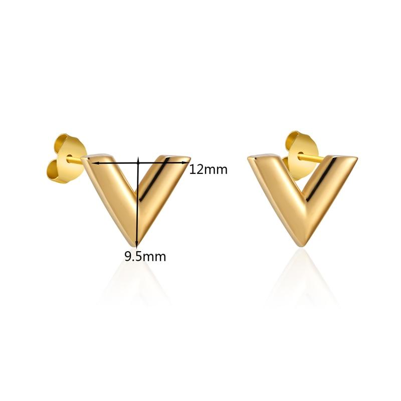 Yeni gələnlər incə stereoskopik V naxışlı dişli sırğalar - Moda zərgərlik - Fotoqrafiya 6
