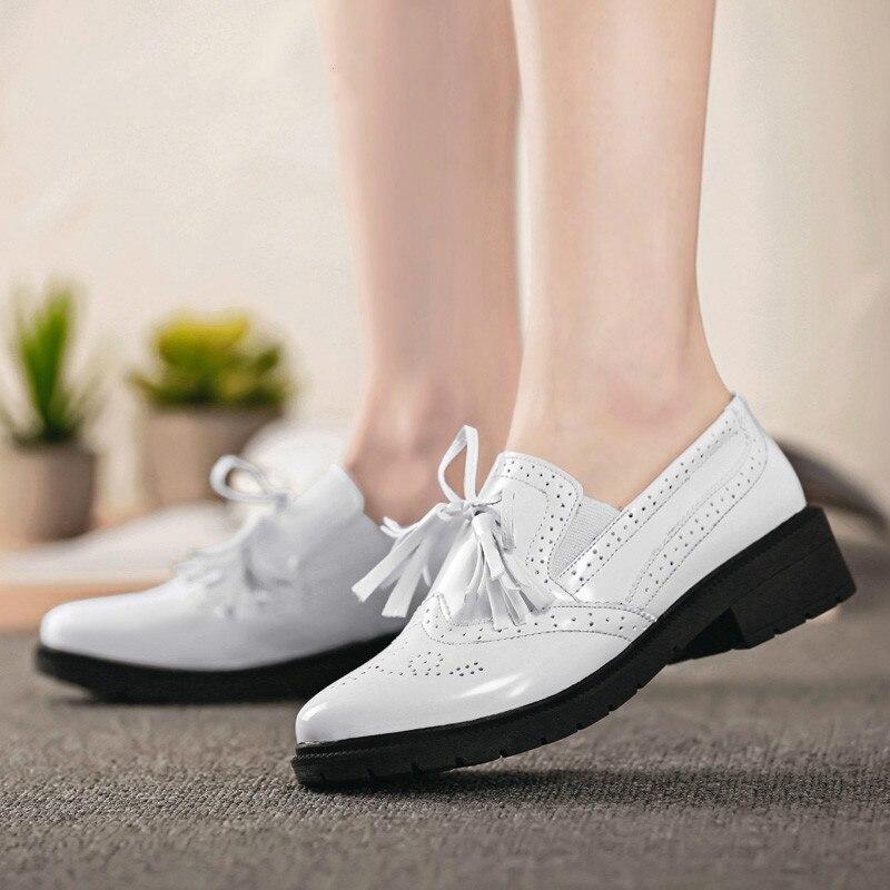 Automne Noir En Mocassins Pour Chaussures Plat Richelieus Appartements Verni Femme Femmes Oxford blanc De Cuir xdoeCB