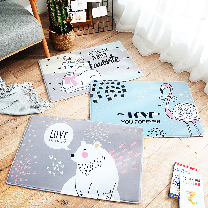 Cartoon Spoil Blue/Gray Flamingo/<font><b>Deer</b></font>/Bear <font><b>Bathroom</b></font> <font><b>Mats</b></font> Absorbent Anti Dust Non-slip Washable Doormat Soft and Cozy Area Rug image