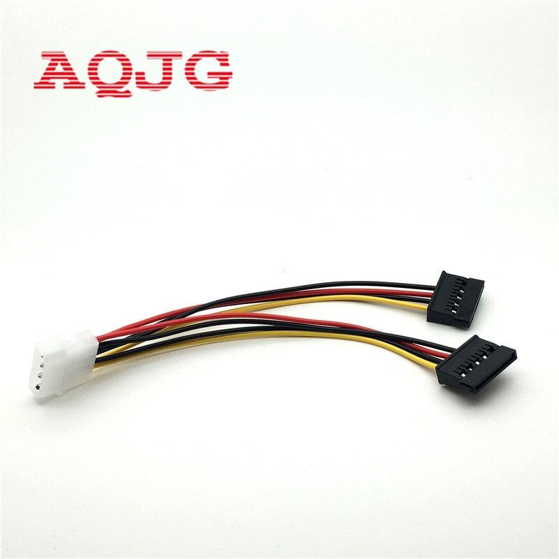 1pcs Serial ATA SATA 4 Pin IDE Molex To 2 Of 15 Pin HDD Power Adapter Cable Hot Worldwide AQJG