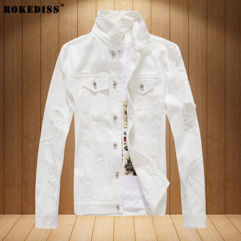 ROKEDISS 2017 Holes Armband Hip Hop Denim Jean Jackets Men Women Fashion Bomber Man Jacket Men's white denim jacket W057