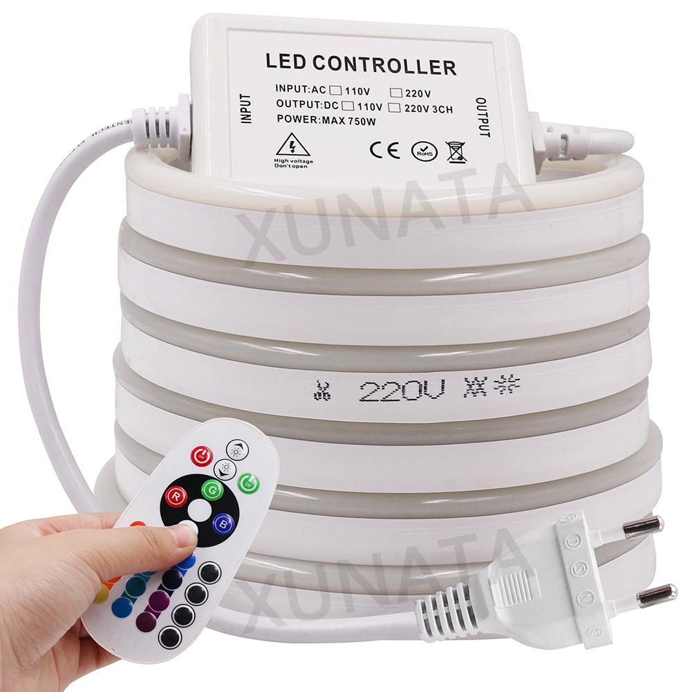 220V Flex LED Neon Rope Light RGB 1m 5m 10m 25m 50m 100m Indoor Outdoor For Holiday Party Valentine Decor Red Blue Yellow White