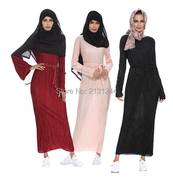 Fashion Pleated Robe Musulmane Turkish Dubai Abaya Muslim Adult Robe Middle East Ramadan Arab Islamic Clothing