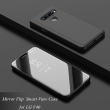 LGV40 Mirror Flip Case For LG V40 Luxury Clear View PU Leather Cover For LG V40 Smart phone Case for LG V 40 luxury shockproof flip mirror case for lg g8 clear view window smart mirror flip case for lg v50 v40 v30 stand leather fundas