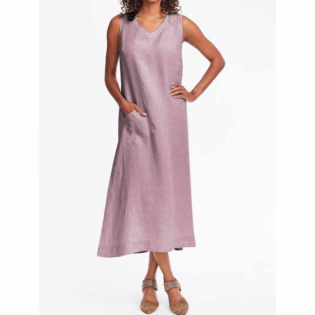 Сексуальное женское платье с v-образным вырезом без рукавов повседневное Полосатое с карманом хлопковое и льняное летнее платье женское натуральное Повседневное платье vestido