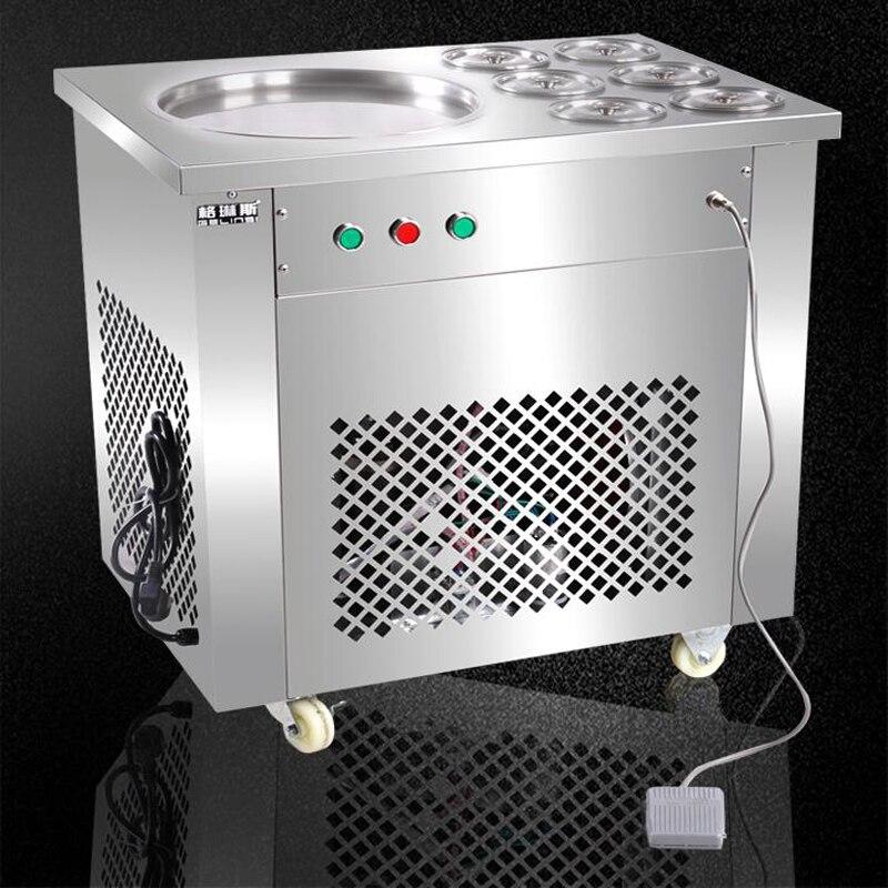 Из нержавеющей стали одной сковороде жареное мороженое рулонной машины сковорода без каблука Мороженое Maker йогурта машина для жареного мор
