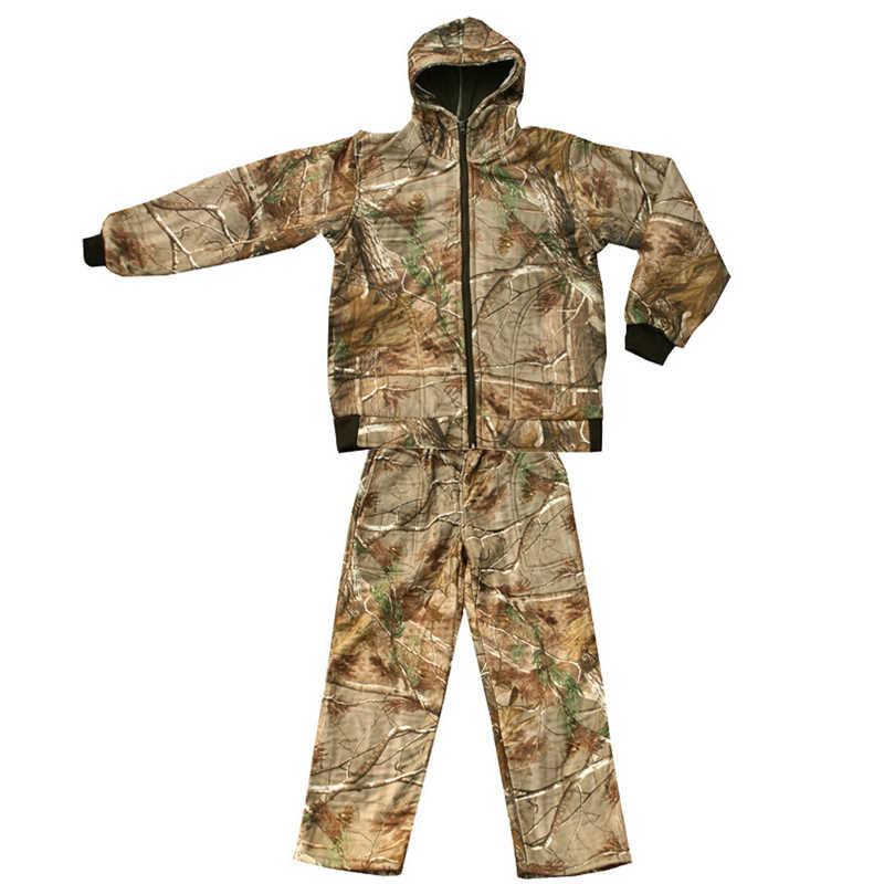冬厚み裏地フリースバイオニック迷彩狩猟屋外の戦術的なハイキング服の Ghillie スーツジャケットパンツ