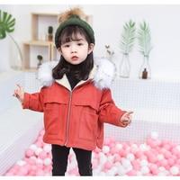 KISBINI 2019 Sweet Winter Baby Girl Denim Jacket Clothes Hooded Korean Style Infant Faux Fur Girls Fur Coat Tops Kid Clothing