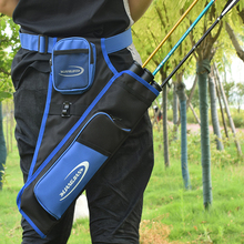 3-Tubes Hip Quiver Cintura ahorcado Arrow Bag Tiro con arco Bow y Arrow Carry Bag con bolsillos Cinturón ajustable para disparar al aire libre