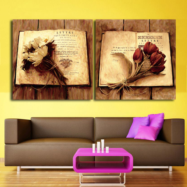 2 panel Home Decor Print Canvas Oil Painting Vintage Flower Wall Art ...
