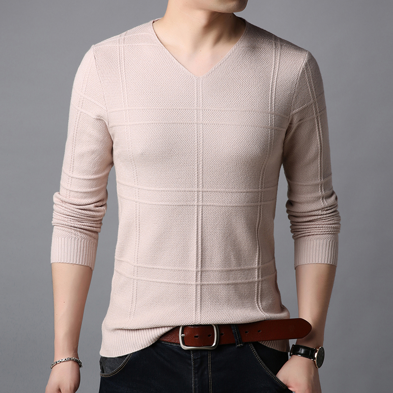 Liseaven Sweater Men V-Neck Pullovers Casual Pullover Slim Fit Knitwear Mens Sweaters Men Pull Homme