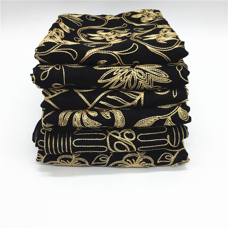 9 color NEW ramadan hijabs black scarf golden embroider flower shawl fashion women scarves brand wrap modesty islamic hijabs
