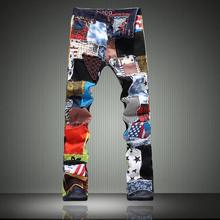 2016 New Summer Style Vintage Printed Jeans Men Fashion Uglybros Motorcycle Jeans High Quality Patchwork Elastic Pants Plus Size
