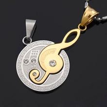 Treble Clef Rhinestone Pendant Gold Silver Stainless Steel Note hip hop body chain bijoux violetta love steampunk joias BP1143