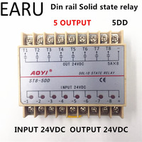 Free Shipping 5DD 8 Channel Din Rail SSR Eight Input Output 24VDC Single Phase DC Solid State Relay 5A PLC Module Controller