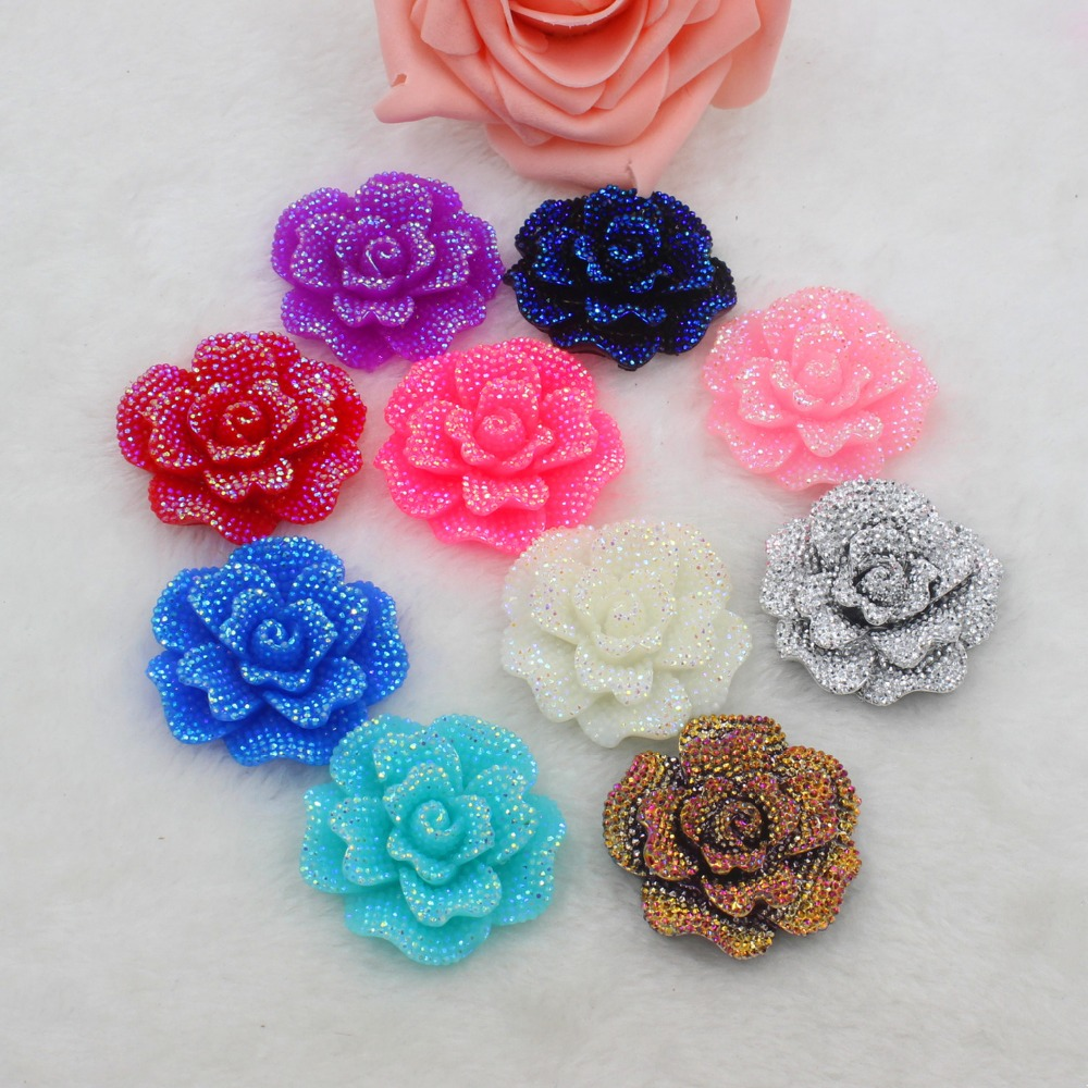 5pcs/lot Flat Back Resin Big Flowers 45mm DIY Resin Cabochons Accessories