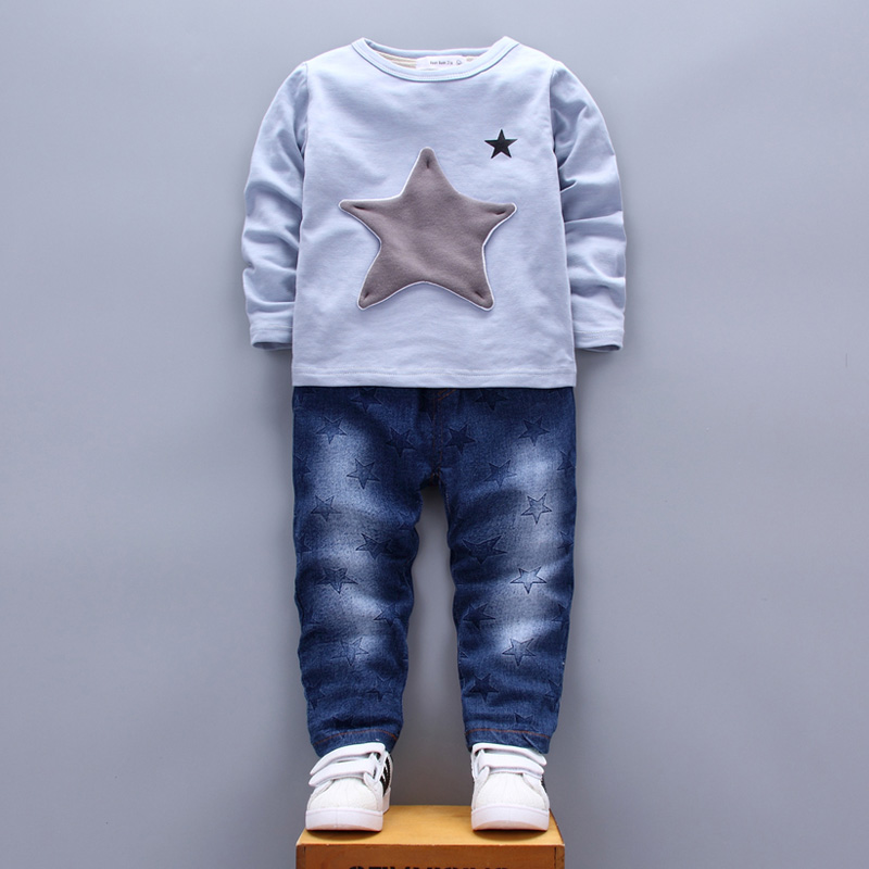 Patchwork Star Kids Clothing Sets for Boys Girls age 1 2 3 4 Years T-shirt Jeans Pants Two Pieces Suits White Blue Green 2017  (16)