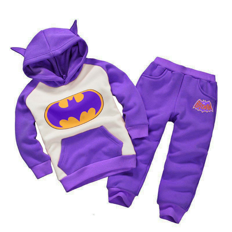 Toddler Boys Children Clothing 2018 Autumn Winter Girls Clothes Batman Hooded+Pant Outfit Kids Tracksuit Sports Suit For Boys