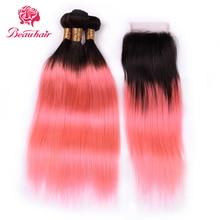 BEAU HAIR Малайзийский Ombre связки с закрытием 3 комплектов с 4 * 4 Закрытие TB / Pink Прямые человеческие волосы Non Remy Hair