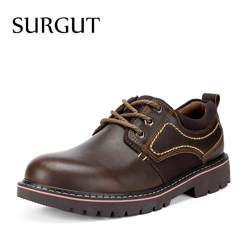 SURGUT 2018 New Men Autumn Fashion Working Shoes Quality Flats Lace-up Men Shoes Walking Comfortable Breathable Men Oxfords стоимость