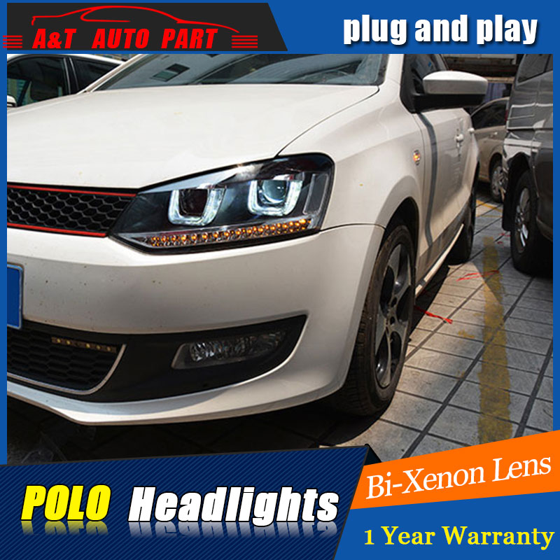 new head lamps car styling For VW polo headlights double U led drl angel eyes 2011