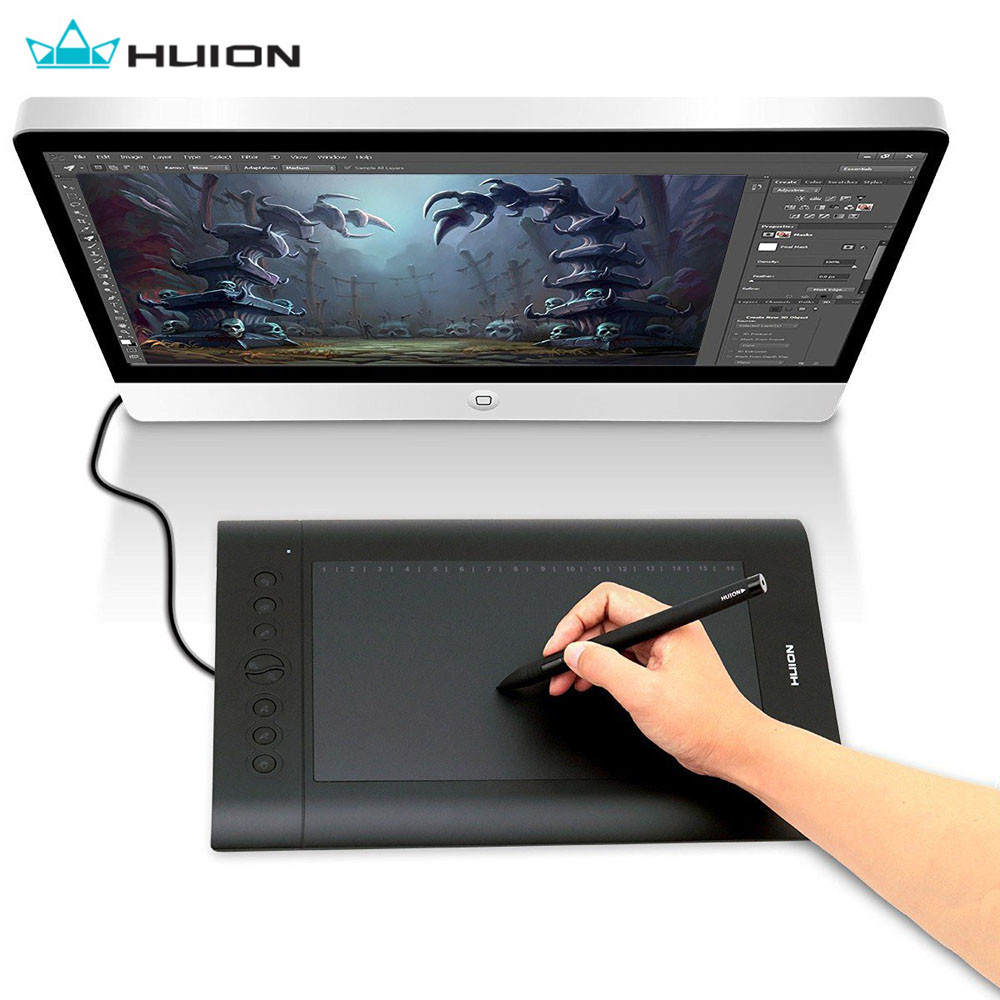 Huion 10*6.25 Inch USB Graphics Tablet H610 PRO V2 Pad Digital Board Painting Drawing Pen 8 Express Keys Writing Board image