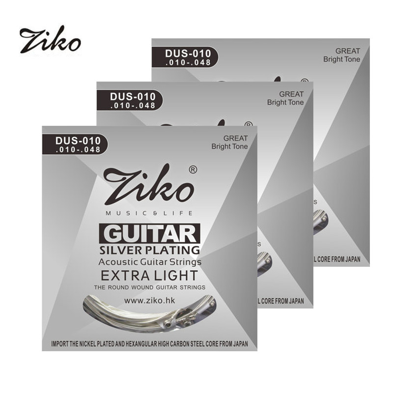 Ziko Acoustic Guitar Strings Set 010 011 012 Silver Plating 6 Strings For Acoustic Guitar Parts Musical Instruments Wound alice a203 replacement acoustic guitar strings set for folk guitar silver bronze 6 pcs