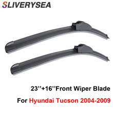 SLIVERYSEA Wiper Blades For Hyundai Tucson 2004-2009 23''+16'' High Quality Iso9001 Natural Rubber Clean Front Windshield F03