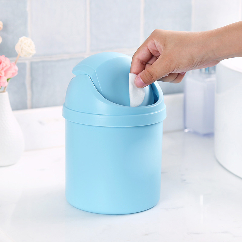 Mini Multifunction Desktop Garbage Basket Table Trash Can Dustbin Container Home Blue/Purple/White/Pink