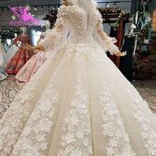 AIJINGYU Vegas wesela szary suknie muzułmańskie 2 w 1 biały nieformalne arabski Dreess w stylu Vintage koronki