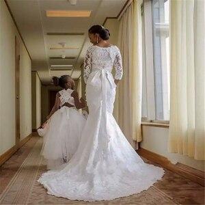 Image 2 - Fansmile Mới Đầm Vestido De Noiva Ren Châu Phi Nàng Tiên Cá Váy Cưới 2020 Tùy Chỉnh Plus Kích Thước Ngọc Trai Cô Dâu Áo Cưới FSM 495M