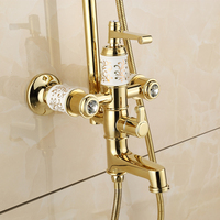 European zirconium gold bathroom accessories retro ceramic hand shower faucet solid brass polished rotating shower set
