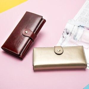 Image 4 - WETSAL 100% Genuine Leather Women Wallet Female Long Clutch Lady Walet Portomone Money Bag Coin Wallet Purse for Card/phone