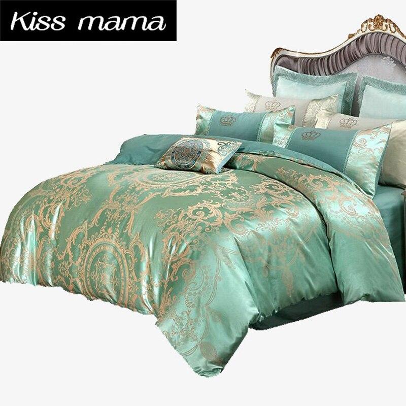4pcs Jacquard Luxury Bedding Set Bed Set Super King Size 100 Cotton Duvet Cover Set Pillow