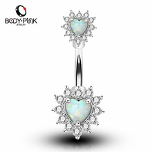 BODY PUNK Silver Rose Gold With Clear CZ White Blue Synthetic Opal Heart Shape Navel Rings 14G Surgical Steel Belly Button