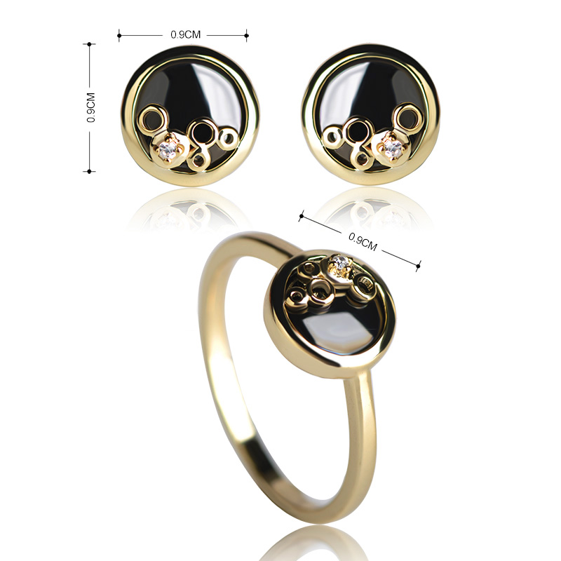 MECHOSEN Simple Ceramic Earrings&Rings Sets AAA Zircon Small Stud Earrings Round Thin Rings Porcelain Schmuck Set With Gift Box 1