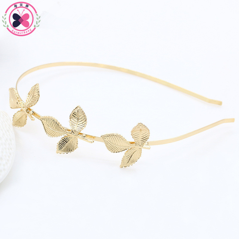 haimeikang Fashion Three Golden Leaves Hair Hoop Alloy Olive Branch Leaf Small Hair Bands Hair Accessories for Girls Women a033 olive branch style brass bookmark golden