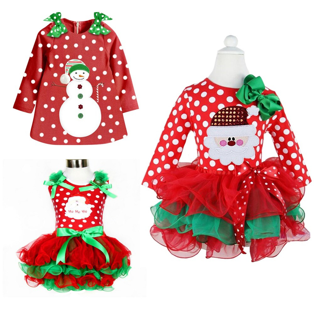 Winter Long Sleeve Toddler Baby Girl Christmas Party Dress Snowman Dots Dress Up Fancy Festival Holiday Costume For Kids Clothes недорого