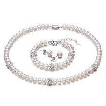2016 Nuevo Color Blanco Conjuntos de collar de Perlas, 8-9mm Blanco Perla Natural de La Joyería, oro Verdadero Plateado Plata Pendientes, Pulsera Para Las Mujeres
