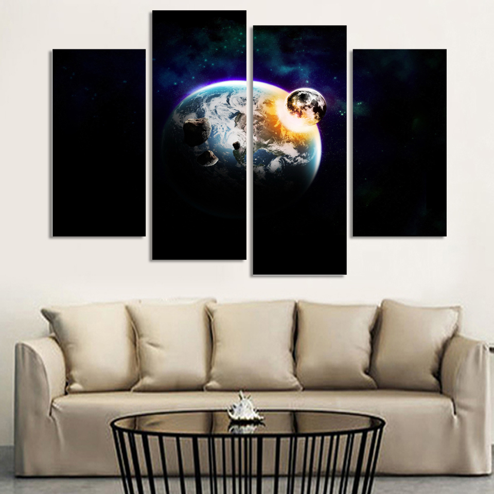 ⑥4 Adet Boyama Uzay Gece Ay Sanat Modern Ev Duvar Dekor Oturma