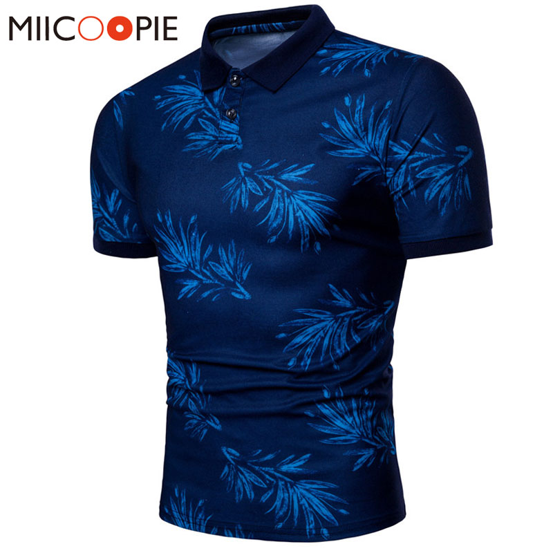 Summer Brand Clothing Polo Shirt Solid Casual Leaf Printing Polo Homme For Men High Quality Cotton Slim Fit Tee Shirt Tops XXXL