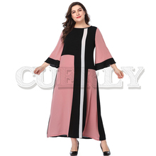 CUERLY Elegant flare sleeve casual plus size dresses Women splice long maxi party dress Female summer sexy pink beach dress 5XL 2019 plus size party dresses women summer long maxi dress casual slim elegant dress bodycon female beach dresses for women 3xl