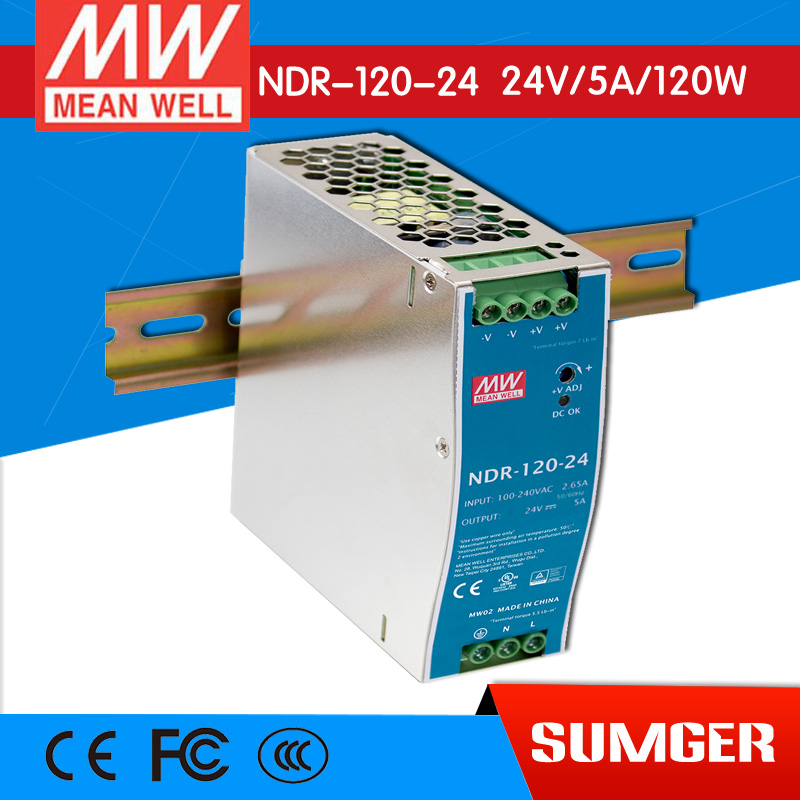 ФОТО [Freeshiping 1Pcs] MEAN WELL original NDR-120-24 24V 5A meanwell NDR-120 24V 120W Single Output Industrial DIN Rail Power Supply