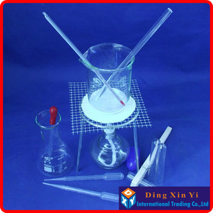 Image 2 - Beaker+Tripod+Glass Erlenmeyer Flask+Alcohol lamp+Stem thermometer,etc.(14 pieces of goods)The chemical experiment device