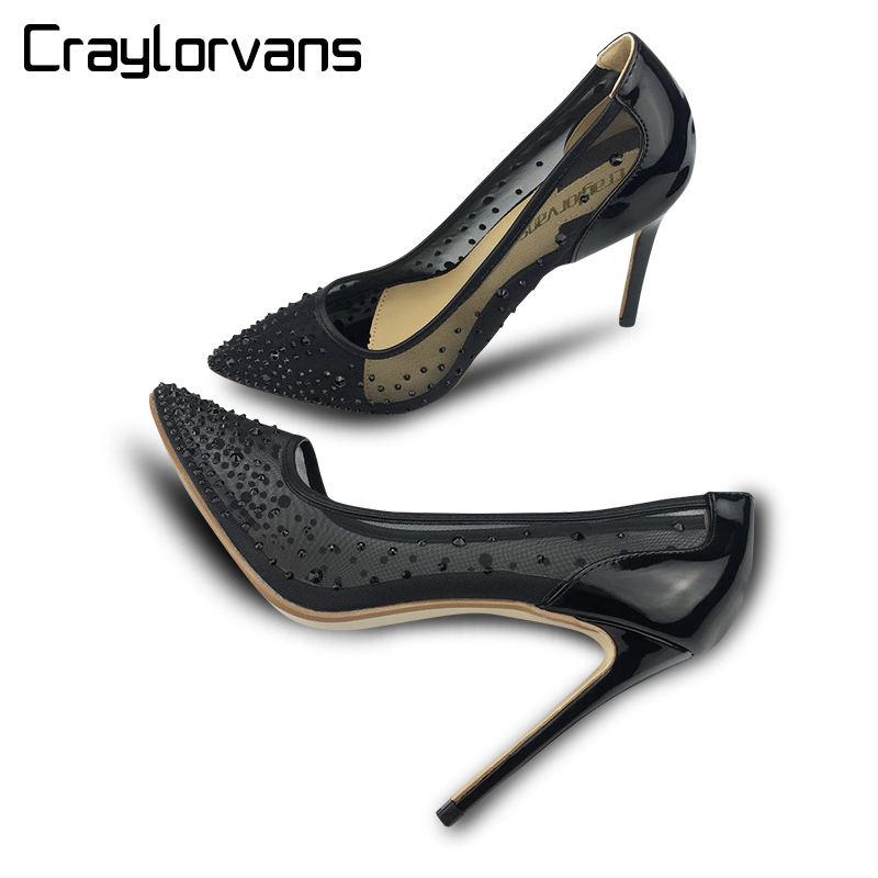 Craylorvans Silver Bling Party Wedding Stiletto Shoes 10/8 cm Heels Fashion Design Women's High Heel Pumps Summer See Through silver bling fashion design women s high heel pumps summer see through party wedding stiletto shoes heels