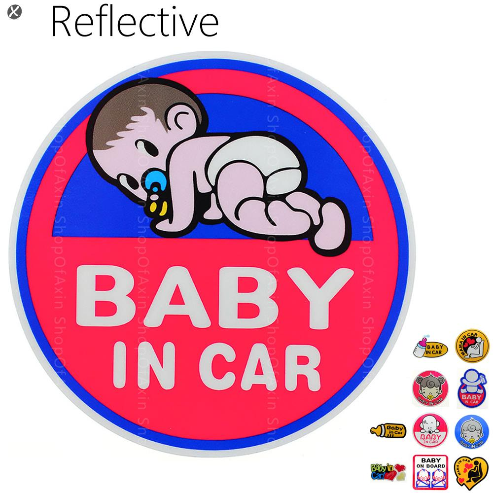 Lovely Baby In Car Graphics sticker Cartoon chile Reflective Vinyl Warming Stickers install on Board On Rear Windshield