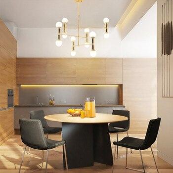 Italy Designer LED Chandelier Creative Art Dining Room Golden Hanging Light Led Bar Hotel Room Decoration Light Free Shipping